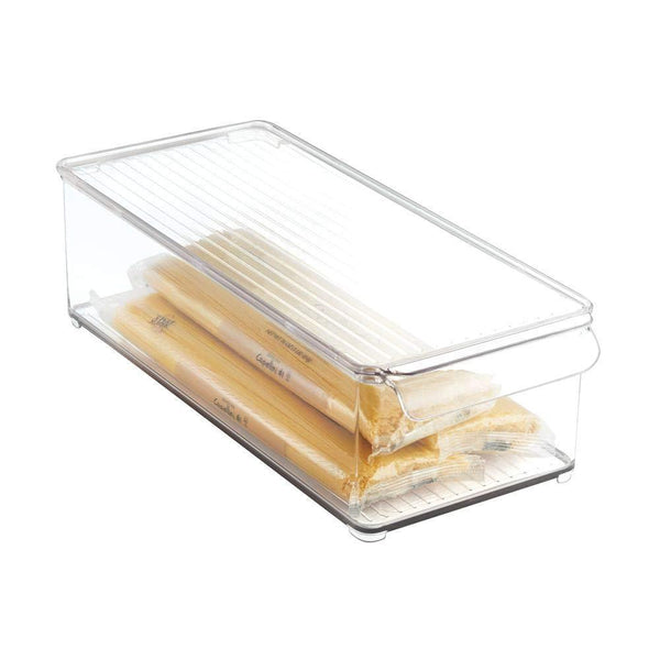 Buy mdesign plastic food storage container bin with lid and handle for kitchen pantry cabinet fridge freezer organizer for snacks produce vegetables pasta 8 pack clear