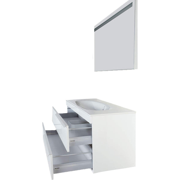 Try giallo rosso argento 48 inch bathroom vanity and sink combo with mirror contemporary design wall mount glossy white cabinet set single sink and double drawer