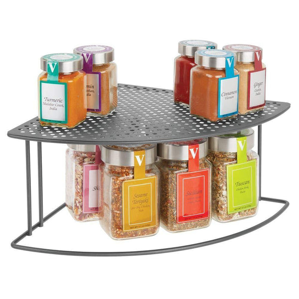 The best mdesign rustic metal corner shelf 2 tier storage organizer for kitchen cabinet pantry shelf counter holds dishes baking supplies canned goods spices rounded design 2 pack graphite gray