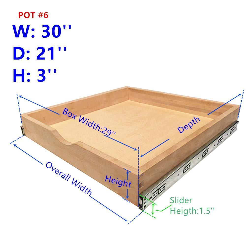 Purchase elysian roll wood tray drawer boxes kitchen organizers cabinet slide out shelves pull out shelf include 2 pack full extension side sliders 2 rear mounting brackets pot 6 30w x 21d