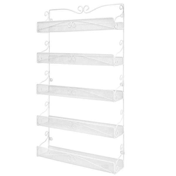 Products spice rack hanging wall mounted spice rack organizer shelf for pantry kitchen cabinet door 5 tier white