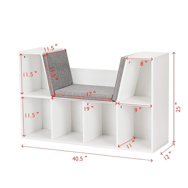 Budget costzon 6 cubby kids bookcase w cushioned reading nook multi purpose storage organizer cabinet shelf for children girls boys bedroom decor room white