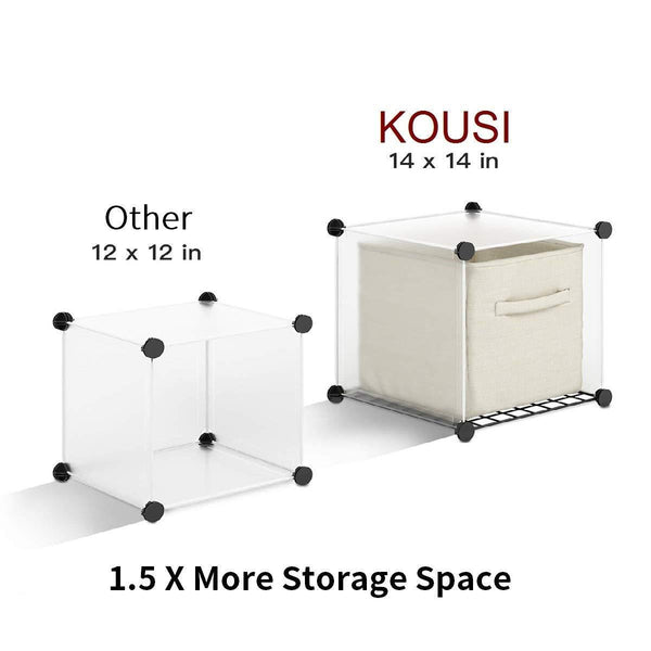 Best seller  kousi portable storage shelf cube shelving bookcase bookshelf cubby organizing closet toy organizer cabinet transparent white 30 cubes storage
