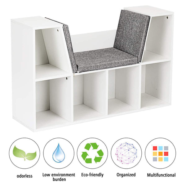 Buy now costzon 6 cubby kids bookcase w cushioned reading nook multi purpose storage organizer cabinet shelf for children girls boys bedroom decor room white