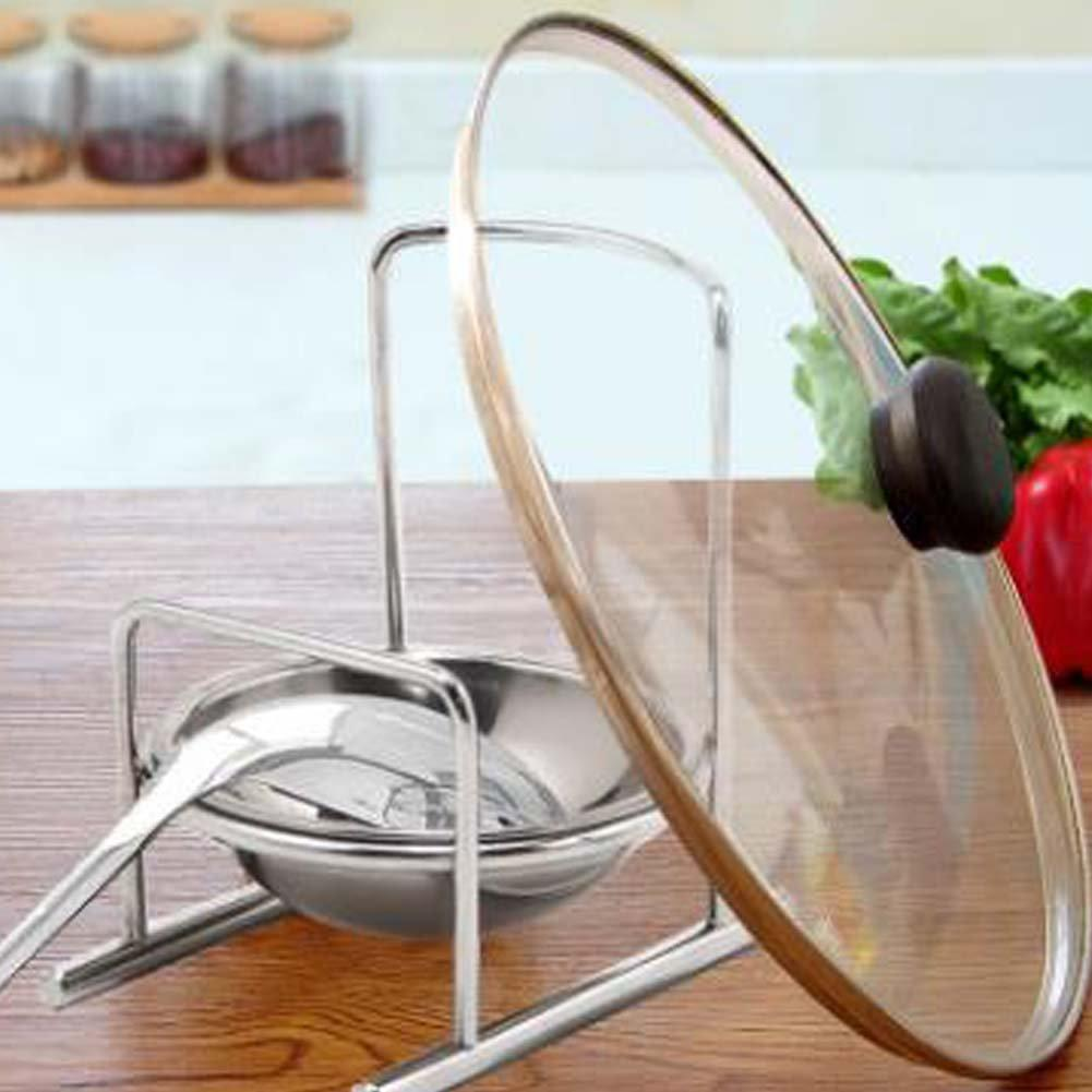 ANQI Stainless Steel Pot Cover Lid Rack Soup Spoon Holder Multifunctional Kitchen Stacks Spade Rack for Cooking Tool 2PCS