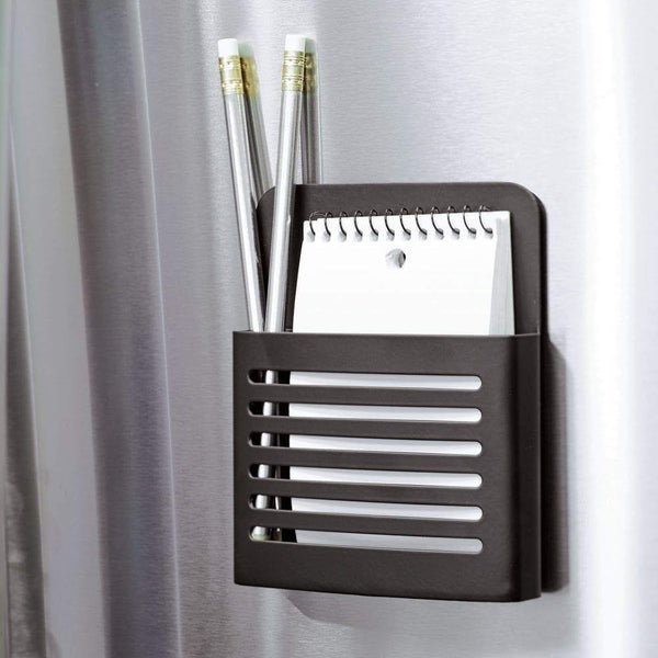 Top interdesign forma magnetic memo center metal pencil pen and notepad holder organizer for kitchen filing cabinets fridge locker home wall or office 2 x 4 06 x 6 31 matte black