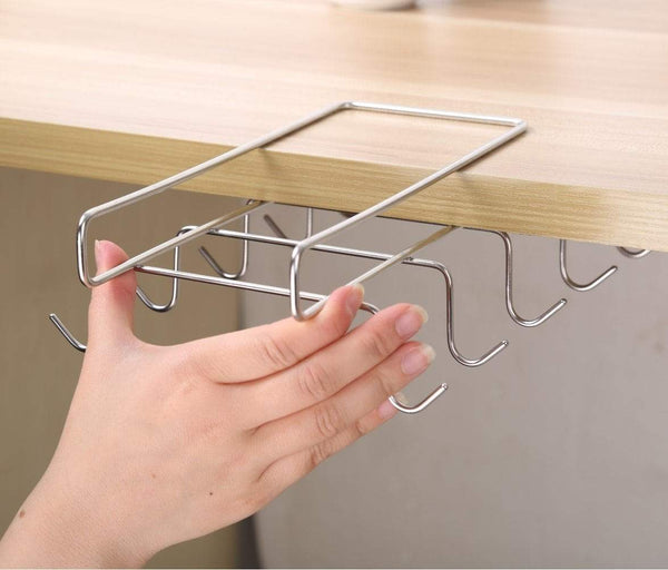 New bafvt coffee mug holder 304 stainless steel cup rack under cabinet 10hooks fit for the cabinet 0 8 or less
