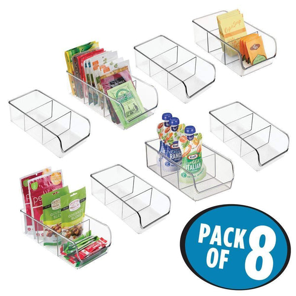 Top mdesign plastic food packet kitchen storage organizer bin caddy holds spice pouches dressing mixes hot chocolate tea sugar packets in pantry cabinets or countertop 8 pack clear