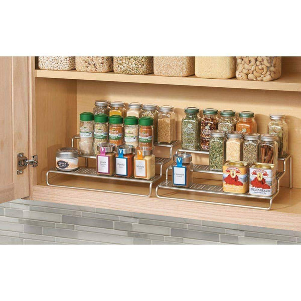 Budget mdesign adjustable expandable kitchen wire metal storage cabinet cupboard food pantry shelf organizer spice bottle rack holder 3 level storage up to 25 wide 2 pack silver