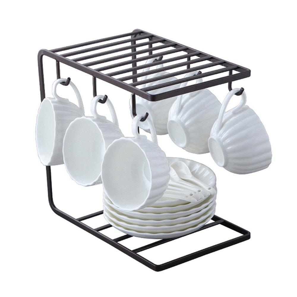 Select nice 7u metal coffee mug cup holder organizer stand for cabinet counter desk kitchen drying display rack with 6 hooks for large mug 9 5 x 9 1inch black