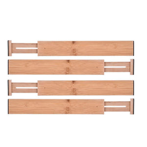 Lebeauty Drawer Dividers Bamboo Kitchen Organizers - Spring Adjustable & Expendable | Best for Kitchen Dresser Bedroom Baby Drawer Bathroom and Desk Beige (Set of 4)