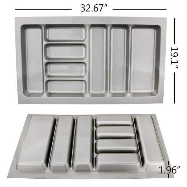 Amazon best 8 compartments cutlery tray insert utensil drawer divider organiser 900mm width cabinet abs plastic gray adjustable