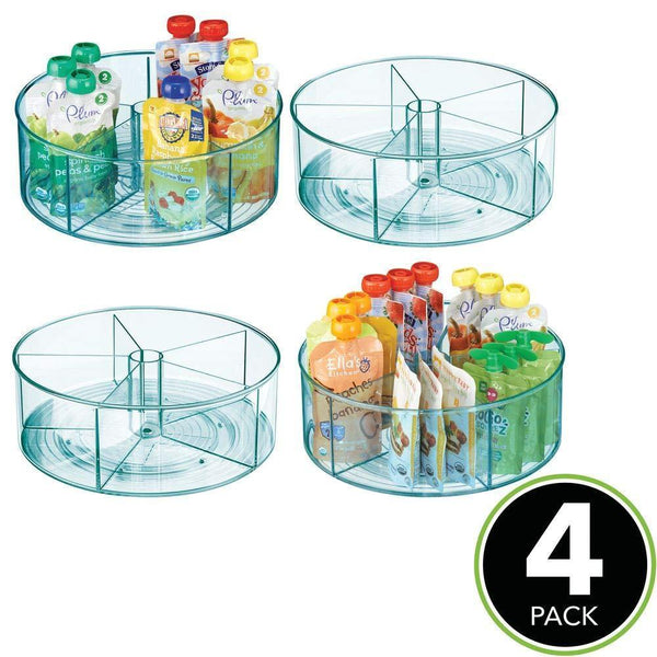 Featured mdesign plastic divided lazy susan turntable storage container for kitchen cabinet pantry refrigerator countertop bpa free food safe spinning organizer for kids toddlers 4 pack sea blue