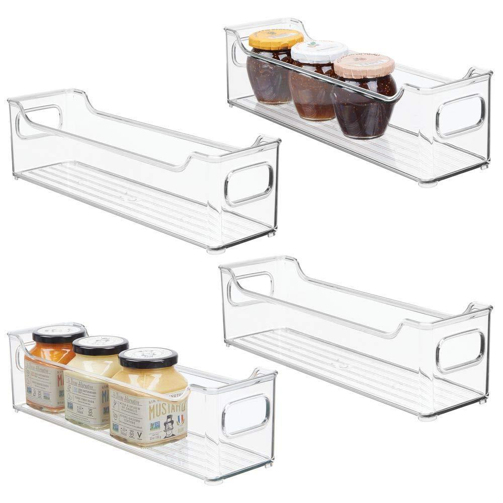 Exclusive mdesign slim stackable plastic kitchen pantry cabinet refrigerator or freezer food storage bin with handles organizer for fruit yogurt snacks pasta bpa free 14 5 long 4 pack clear