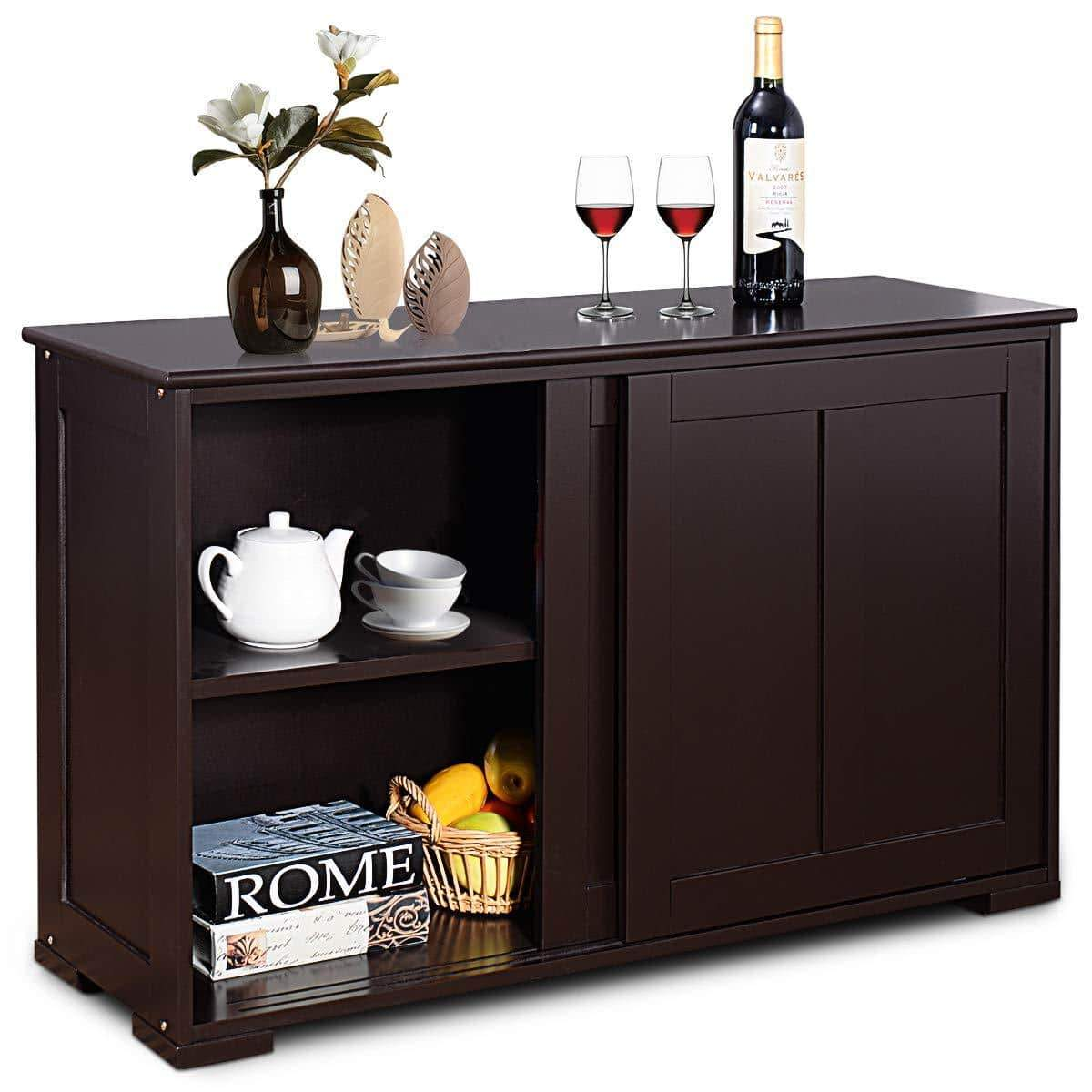 Select nice costzon kitchen storage sideboard antique stackable cabinet for home cupboard buffet dining room espresso sideboard with sliding door