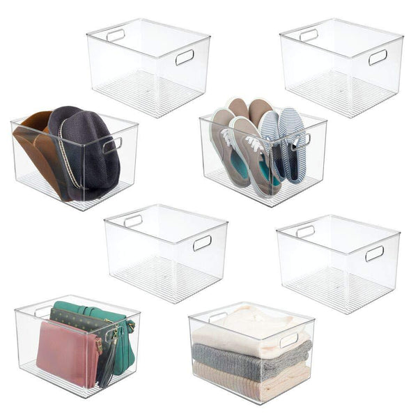 Great mdesign plastic home storage basket bin with handles for organizing closets shelves and cabinets in bedrooms bathrooms entryways and hallways store sweaters purses 8 high 8 pack clear