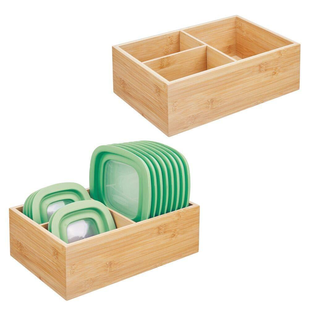 Discover the best mdesign bamboo wood kitchen storage bin organizer for food container lids and covers use in cabinets pantries cupboards large divided organizer with 3 sections 2 pack natural