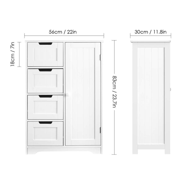 Latest homfa bathroom floor cabinet wooden side storage organizer cabinet with 4 drawer and 1 cupboard freestanding unit for better homes and gardens offic