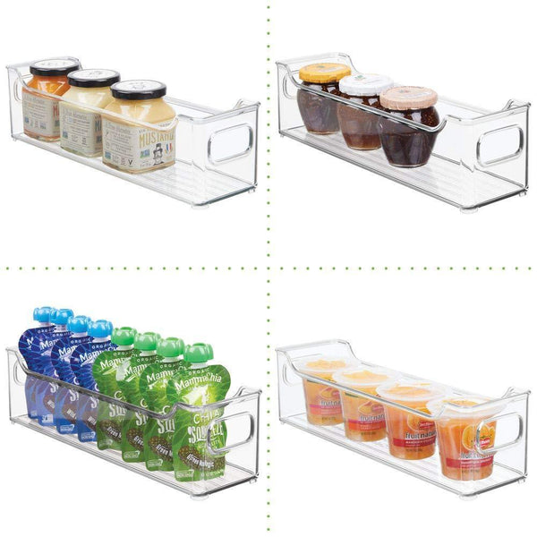 Featured mdesign slim stackable plastic kitchen pantry cabinet refrigerator or freezer food storage bin with handles organizer for fruit yogurt snacks pasta bpa free 14 5 long 4 pack clear