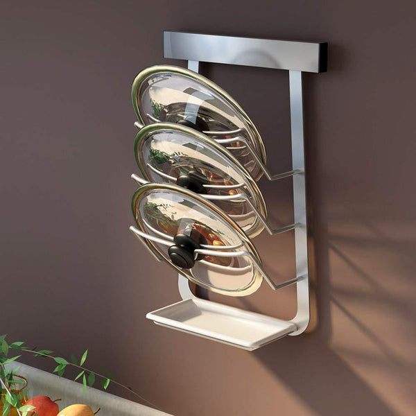 Pot Lid Rack with Draining Board Stainless Steel Wall Mounted Self Adhesive Pan Cover Storage Holder for Kitchen Utensil Tool Organizer