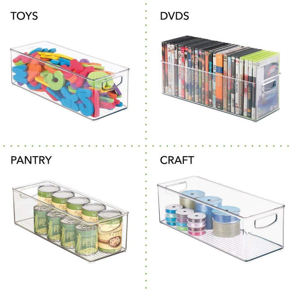 The best mdesign plastic stackable household storage organizer container bin with handles for media consoles closets cabinets holds dvds video games gaming accessories head sets 4 pack clear