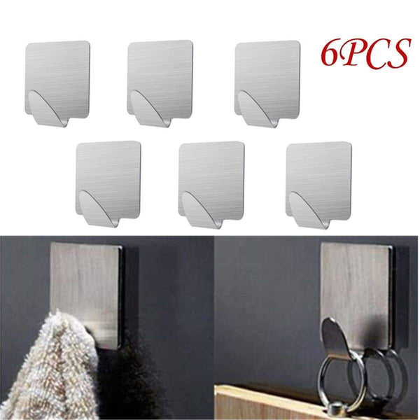 Latest doitb 6pcs square self adhesive mini hook cloth key hat racket hooks stainless steel hanging hooks for bathroom bedroom office cabinet draw clothes kitchenware hooks hangers for office and kitchen