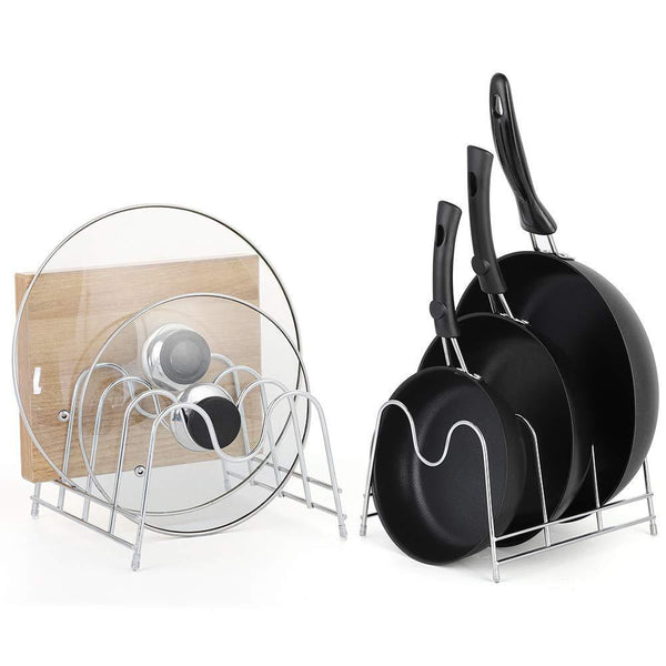 Discover the nex 2 pack kitchen cabinet pan and pot lid organizer rack holder