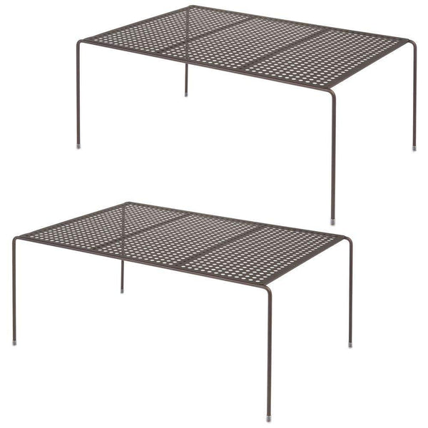 Save mdesign metal kitchen pantry countertop organizer storage shelves raised cabinet shelf racks for food dishes plates dishes bowls mugs glasses non skid feet extra large 2 pack bronze