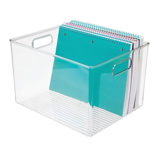 Get mdesign plastic storage container bin with carrying handles for home office filing cabinets shelves organizer for school supplies pens pencils notepads staplers envelopes 8 pack clear