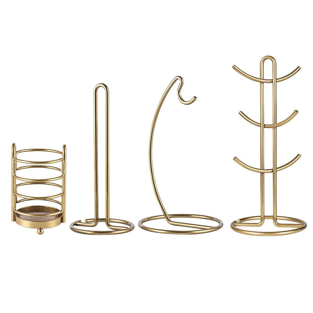 Kitchen Organizer Set-4 Piece, Banana Hanger, Mug Tree Holder Rack, Paper Towel Holder,Flatware Caddy,Kitchen Gifts Modern Collection for Countertop Table Décor