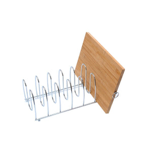 On amazon cutting board holder rack pot lid organizer for kitchen cabinet countertop large 6 block chrome steel 13 2l x 5 5h x 5 5w