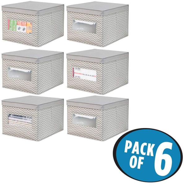 Buy now mdesign decorative soft stackable fabric office storage organizer holder bin box container clear window lid for cabinets drawers desks workspace large foldable chevron print 6 pack taupe
