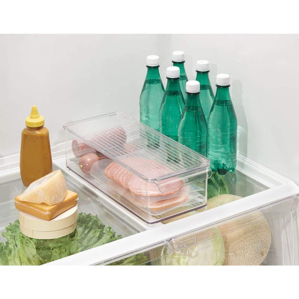 Buy now mdesign plastic food storage container bin with lid and handle for kitchen pantry cabinet fridge freezer organizer for snacks produce vegetables pasta 8 pack clear