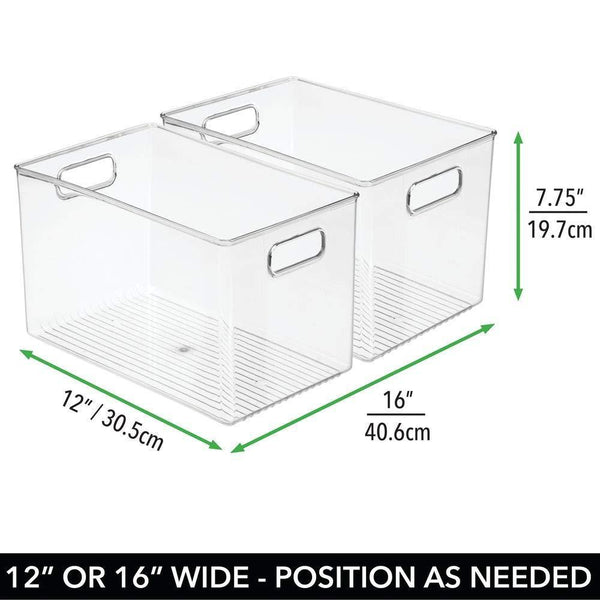 Products mdesign deep plastic home storage organizer bin for cube furniture shelving in office entryway closet cabinet bedroom laundry room nursery kids toy room 12 x 8 x 8 4 pack clear