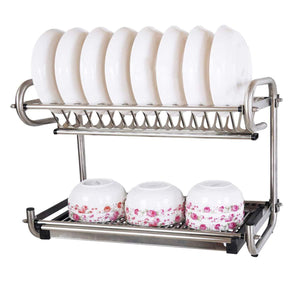 Buy now 23 2 kitchen dish rack 2 tier stainless steel cabinet rack wall mounted with drainboard set dish bowl cup holder 23 2 inch