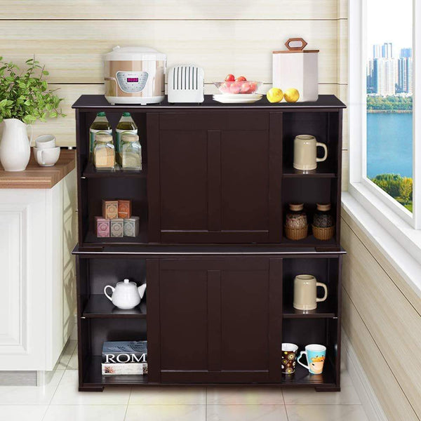 On amazon waterjoy kitchen storage sideboard stackable buffet storage cabinet with sliding door panels for home kitchen antique brown