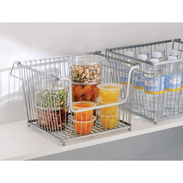 Storage mdesign modern stackable metal storage organizer bin basket with handles open front for kitchen cabinets pantry closets bedrooms bathrooms large 6 pack silver