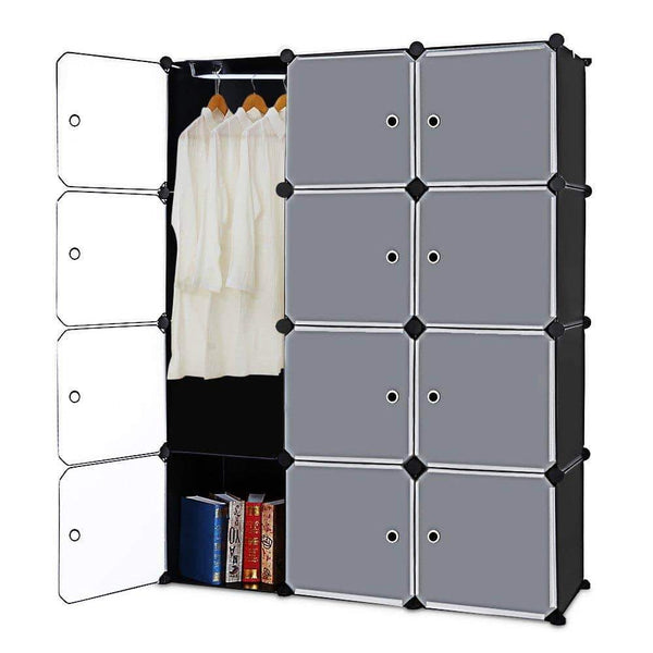 Kitchen robolife 12 cubes organizer diy closet organizer shelving storage cabinet transparent door wardrobe for clothes shoes toys