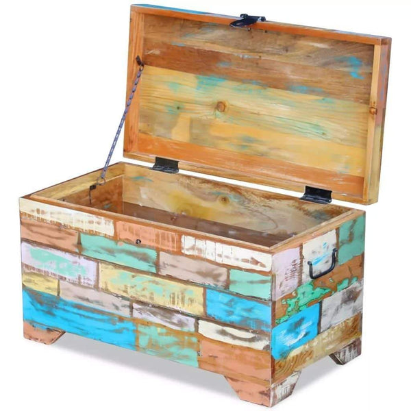 Amazon best fesnight reclaimed wood storage chest lockable wooden storage box trunk cabinet with handles for bedroom closet home organizer collection furniture decor 28 7 x 15 4 x 16 1l x w x h