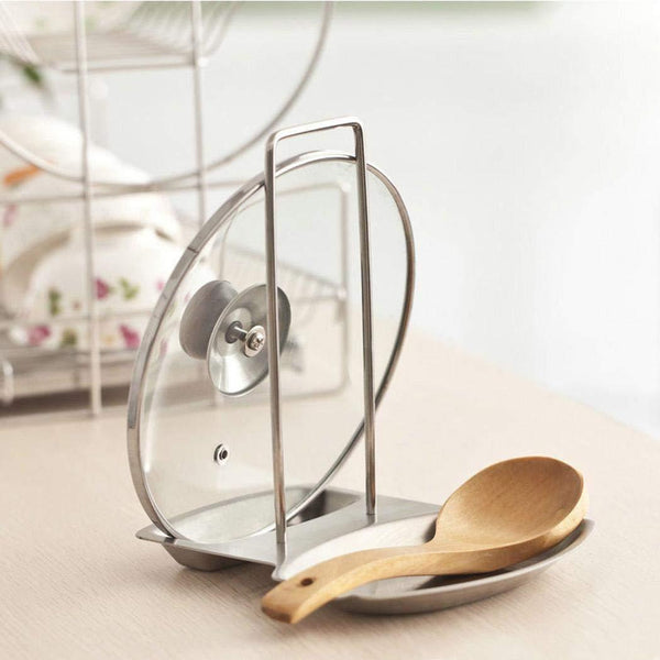 Lookgid Kitchen Stainless Steel Pot Cover Rack Holder with Water Tray Multifunction Rack Pot Lid Holders