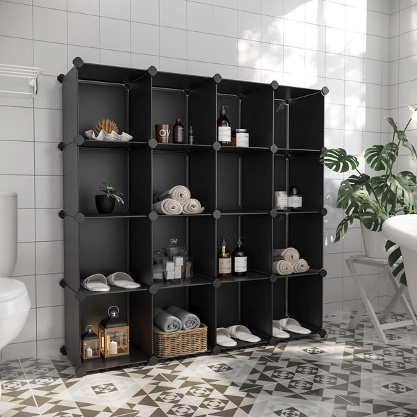 Save on songmics cube storage organizer 16 cube book shelf diy plastic closet cabinet modular bookcase storage shelving for bedroom living room office 48 4 l x 12 2 w x 48 4 h inches black ulpc44bk