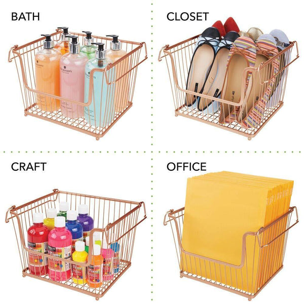 Related mdesign modern stackable metal storage organizer bin basket with handles open front for kitchen cabinets pantry closets bedrooms bathrooms large 6 pack copper