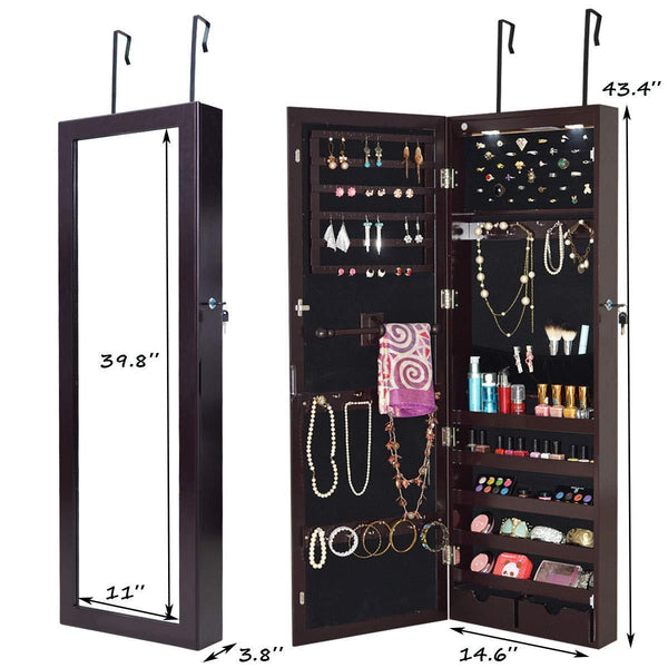The best giantex wall door mounted jewelry armoire organizer with 2 led lights lockable height adjustable jewelry cabinet with full length mirror large capacity dressing makeup jewelry mirror storage brown