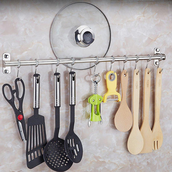 Lzttyee Stainless Steel Pot Pan Rack Wall Mounted Lid Holder Organizer Multifunctional Kitchen Utensils (10 Hooks)