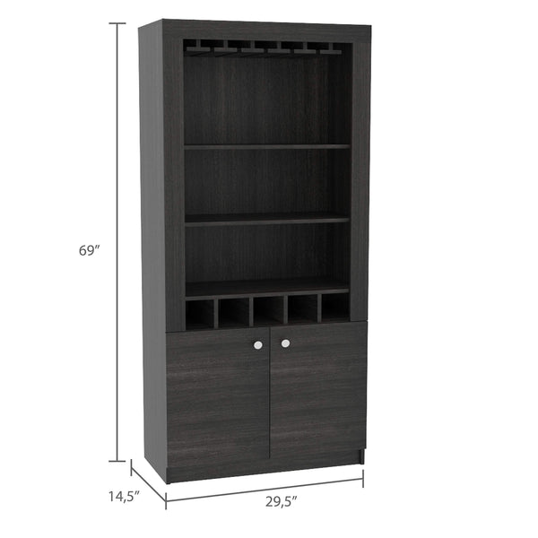 Budget tuhome montenegro collection bar cabinet home bar comes with a 5 bottle wine rack storage cabinets 3 shelves and a 15 wine glass rack with a modern dark weathered oak finish