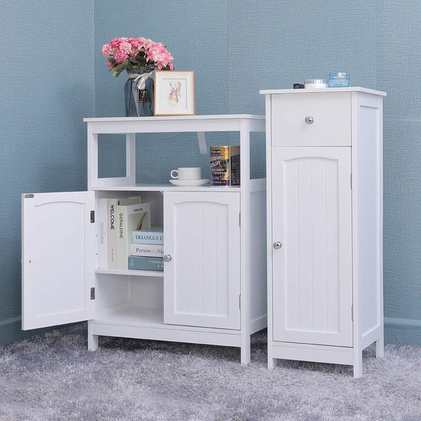 Select nice iwell bathroom floor storage cabinet with 1 adjustable shelf 3 heights available free standing kitchen cupboard wooden storage cabinet with 2 doors office furniture white ysg002b