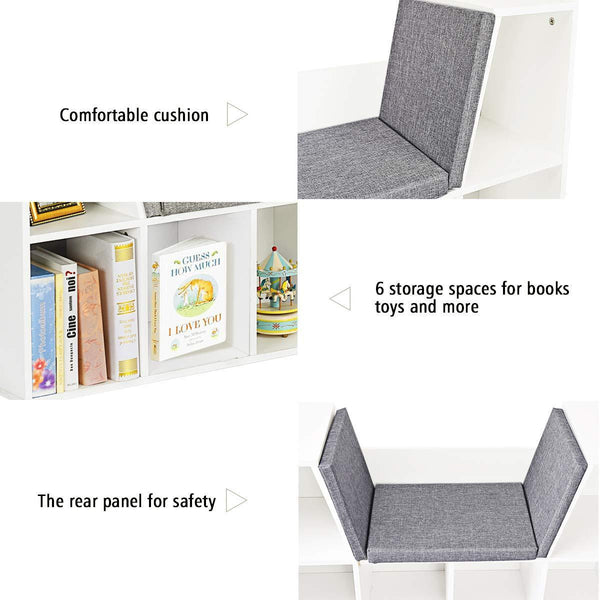 Cheap costzon 6 cubby kids bookcase w cushioned reading nook multi purpose storage organizer cabinet shelf for children girls boys bedroom decor room white