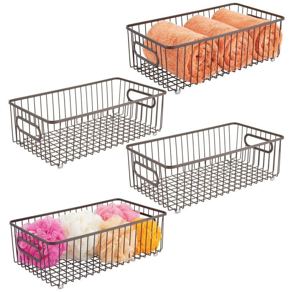 Best mdesign metal bathroom storage organizer basket bin farmhouse wire grid design for cabinets shelves closets vanity countertops bedrooms under sinks large 4 pack bronze
