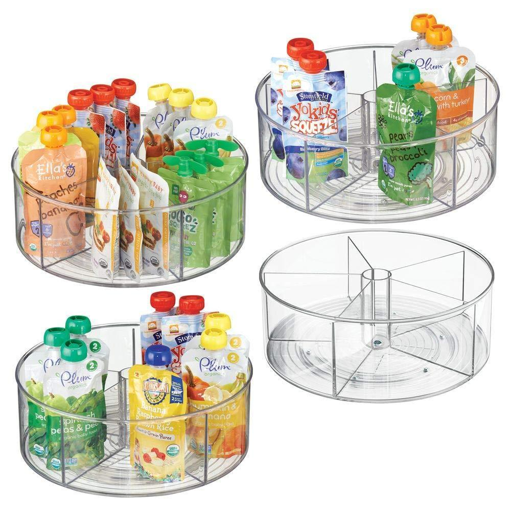 Exclusive mdesign divided lazy susan turntable storage container for kitchen cabinet pantry refrigerator countertop bpa free food safe spinning organizer for kids toddlers 5 sections 4 pack clear