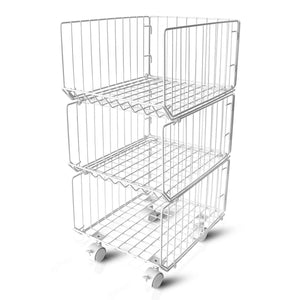 Pup joint Metal Wire Baskets, 3 Tiers Foldable Stackable Rolling Baskets Utility Shelf Unit Storage Organizer Bin with Wheels for Kitchen, Pantry, Closets, Bedrooms, Bathrooms